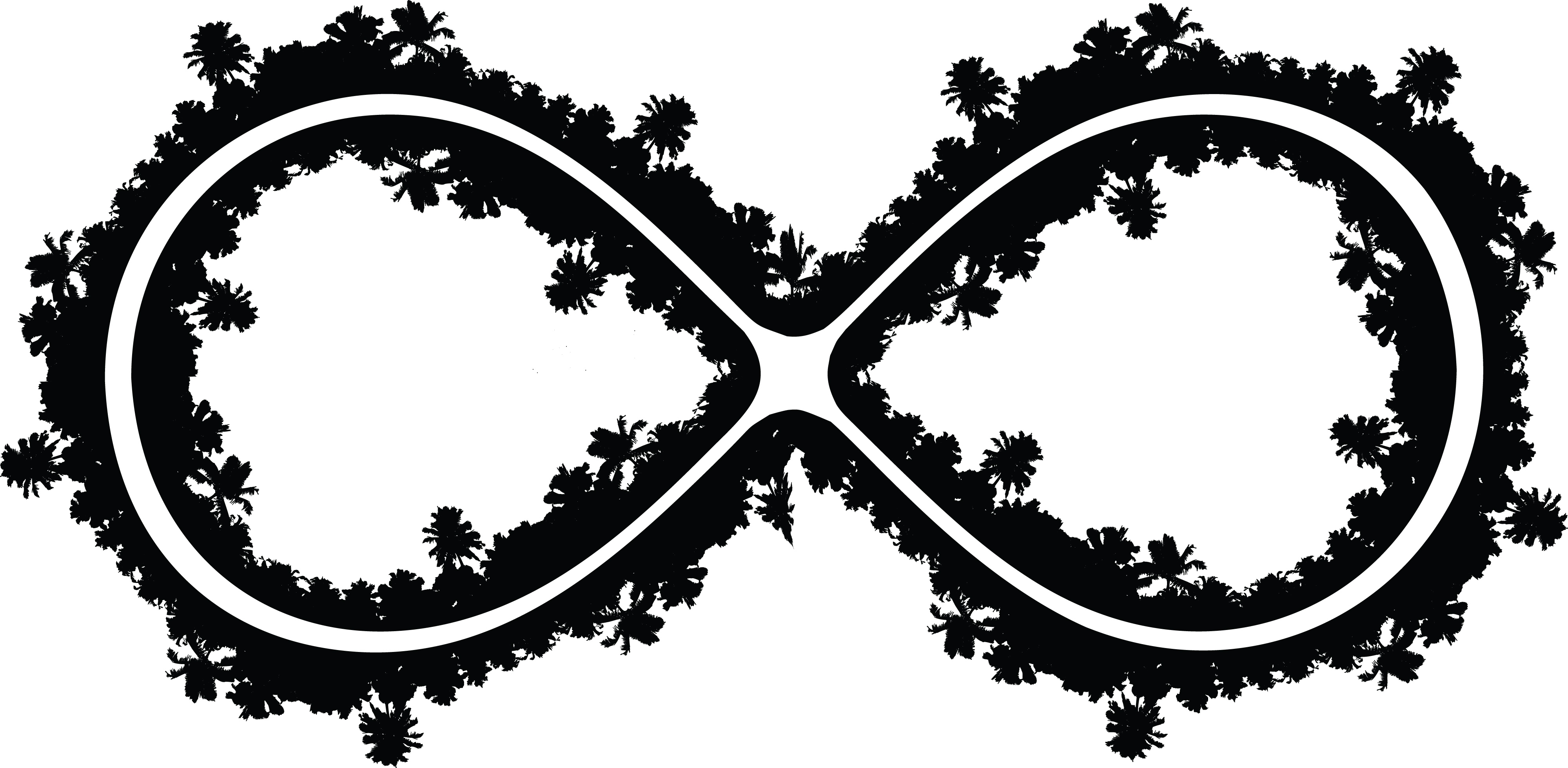 4000x1959 Clipart Of A Palm Tree Infinity Symbol