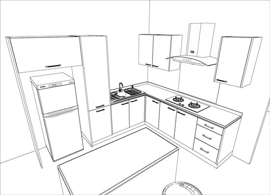 550x397 Kitchen Design Sketch Easy Kitchen Drawing Rataki Info