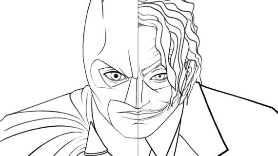 570x320 Batman Drawing Coloring Pages Fighting Joker For The Idea 17