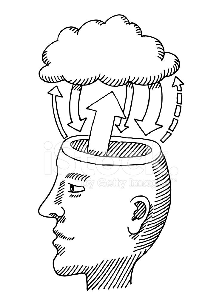 744x1024 Head Brain Cloud Information Exchange Drawing Stock Photos