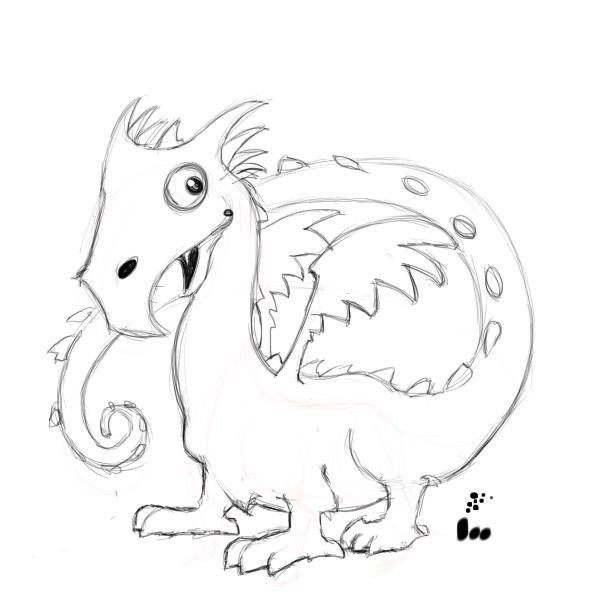 600x600 Simple Dragon Drawings