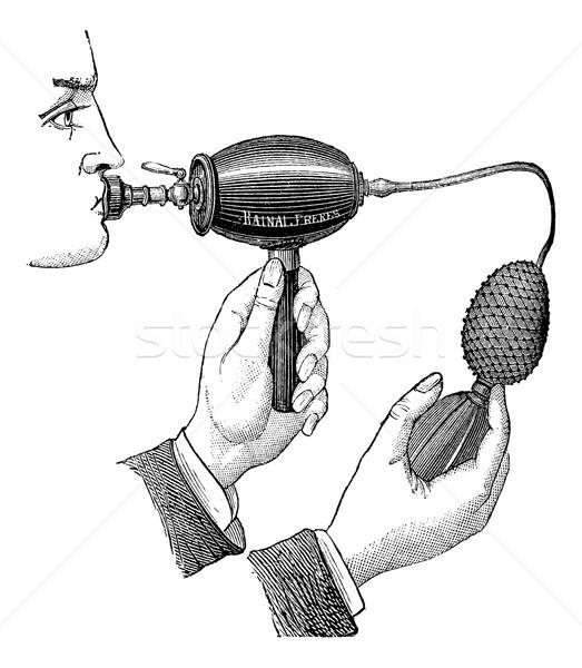 523x600 Powered Inhaler, Vintage Engraving. Vector Illustration Patrick
