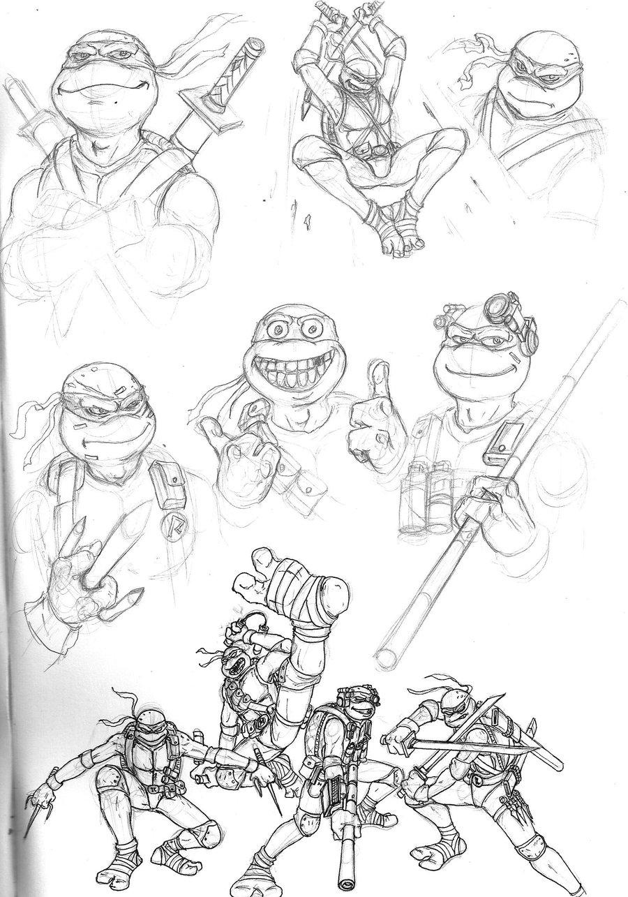 900x1285 Ninja Turtles Initial Sketch By Jellovicious