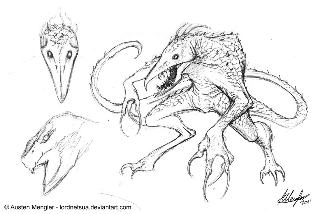1091x733 Creature Design Initial Concept Sketch By Austenmengler