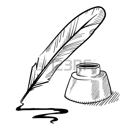 450x450 Doodle Style Feather Quill Pen And Ink Well Illustration In Vector