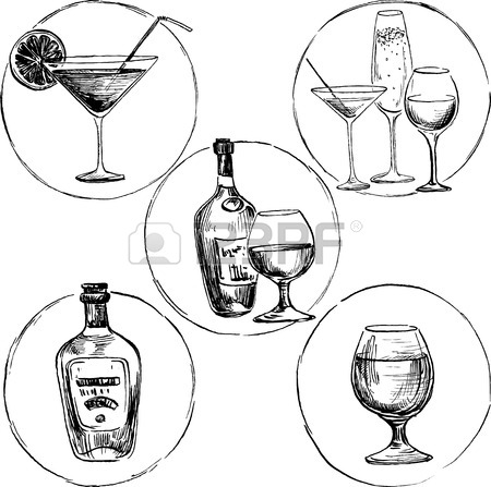450x447 Set Of Alcohol Drinks, Ink Drawing Wineglass And Bottles,hand