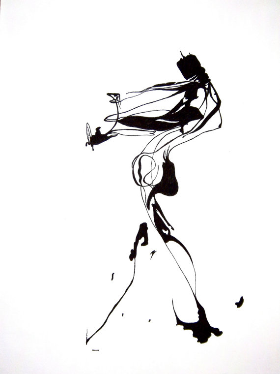 570x760 Abstract Human Figure Ink Drawing Ink Drawings