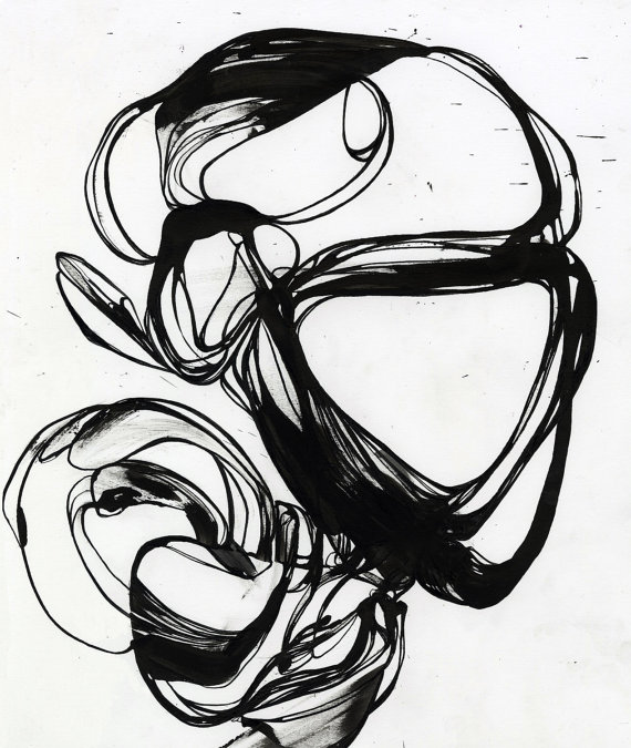 570x675 Fine Art Print Black Line Pen And Ink Ink Drawing Original