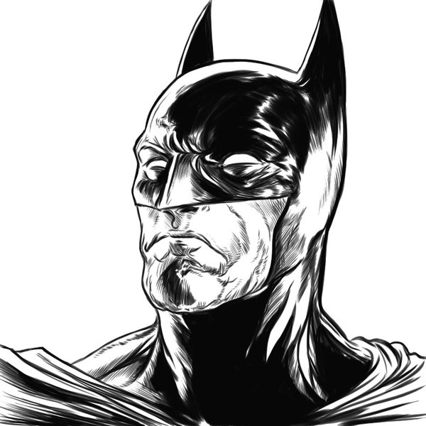 600x600 Batman Test Ink Drawing By Elvinhernandez