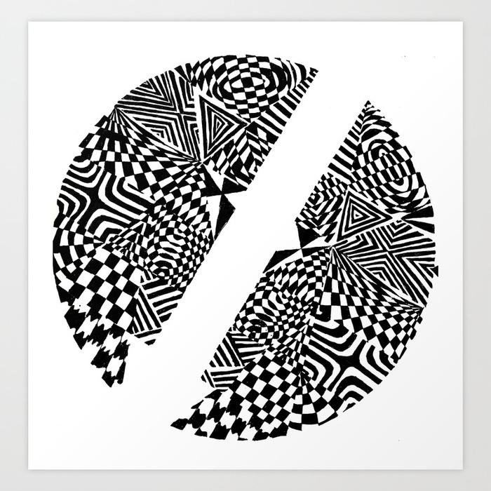 700x700 Circular Face, Blackwhite Abstract (Ink Drawing) Art Print By