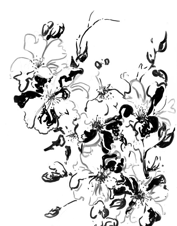 570x726 Abstract Black And White Flowers Ink Drawing Art Print, Modern