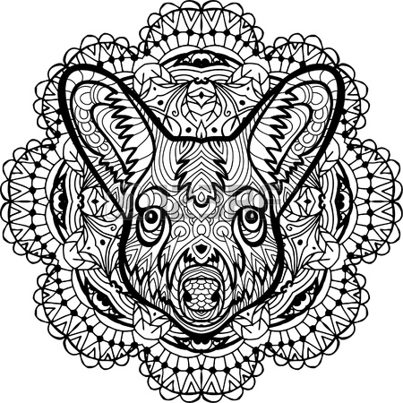 450x450 Totem Coloring Page For Adults. Monochrome Hand Drawn Ink Drawing