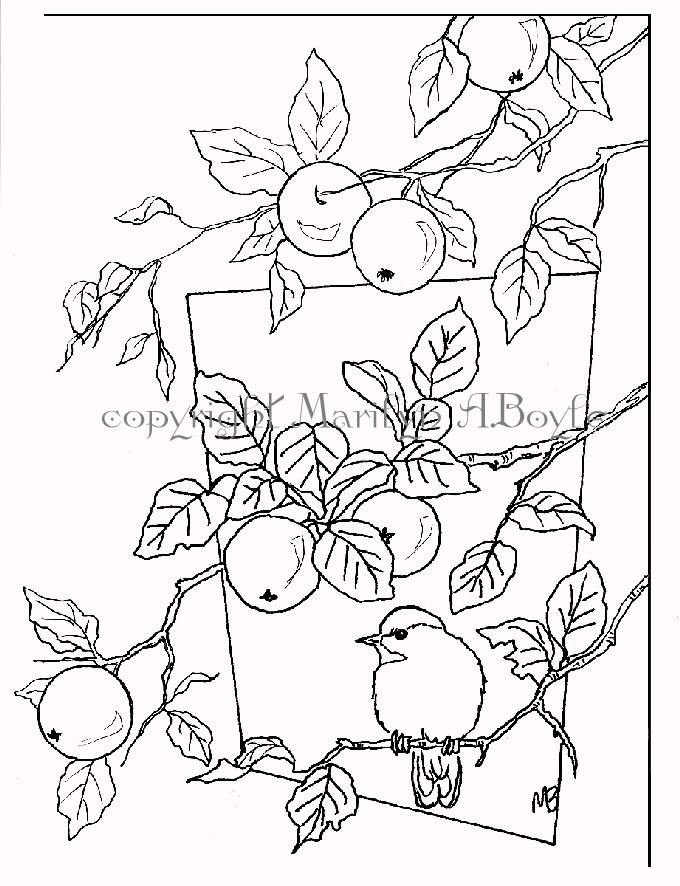 680x886 Adult Coloring Page Digital Download, Chickadee, Apples, Garden