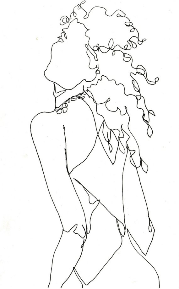 570x920 Art Pen And Ink Drawing Fashion Woman With Curly By Vhmckenzie