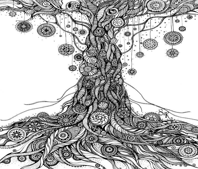 800x682 Mandalas Tree.hand Draw Ink And Pen On Textured Paper Travel Mugs