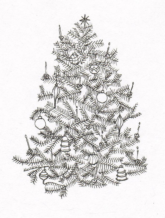 683x900 Old Fashion Christmas Tree Drawing By Deborah Wetschensky