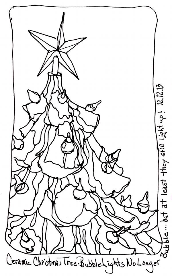 600x961 Ceramic Christmas Tree Fountain Pen Ink Drawing Sketchbook Chris