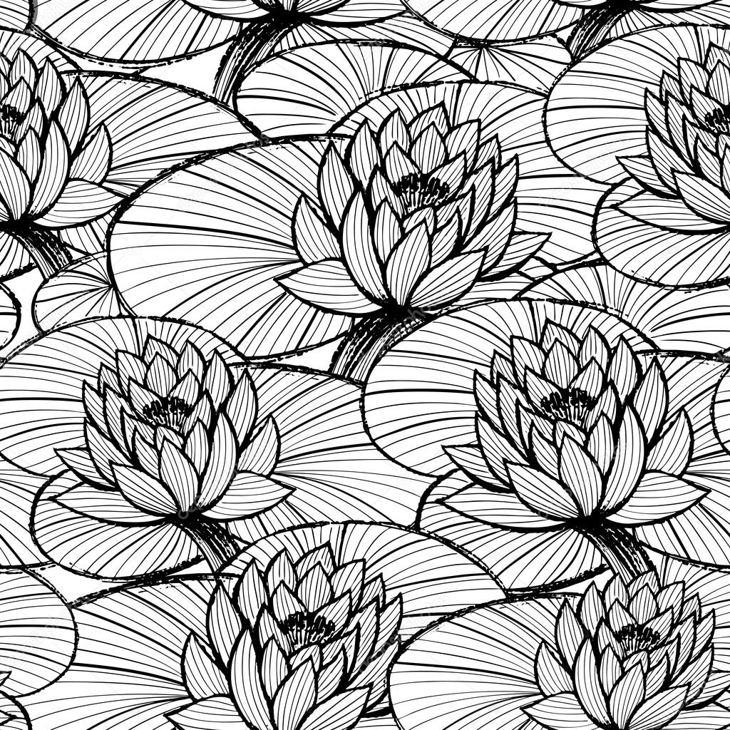 1024x1024 Lotus Ink Hand Drawn Seamless Patternlack And White Water Lily
