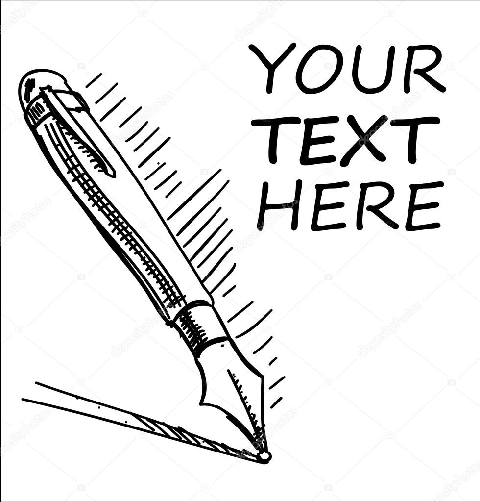 980x1024 Ink Pen With Sample Text Cartoon Sketch Illustration Stock