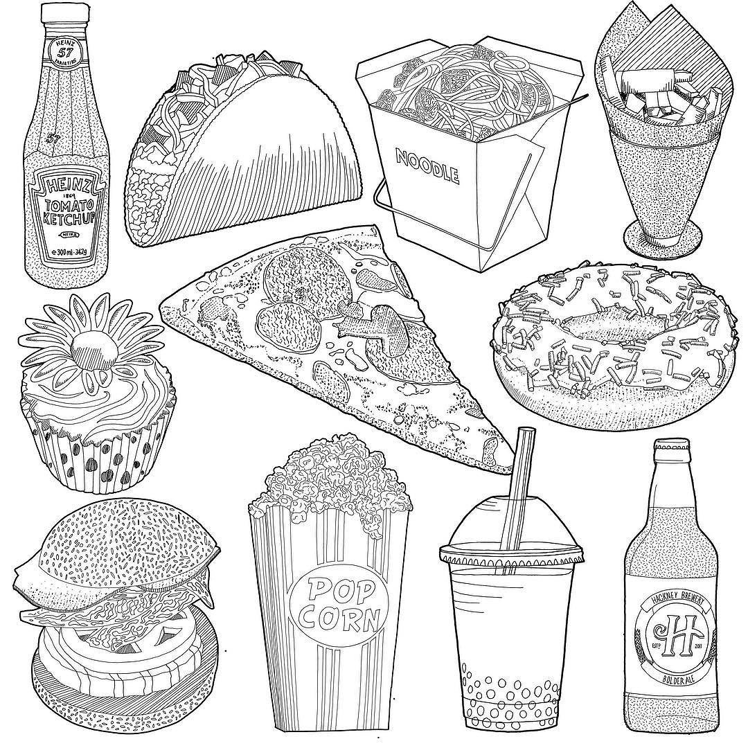 1080x1080 A Collection Of Black And White Fast Food Drawing Studies Carrying