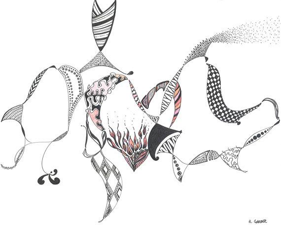 570x456 Flaming Heart Digital Print Of Original Black Ink Pen Drawing