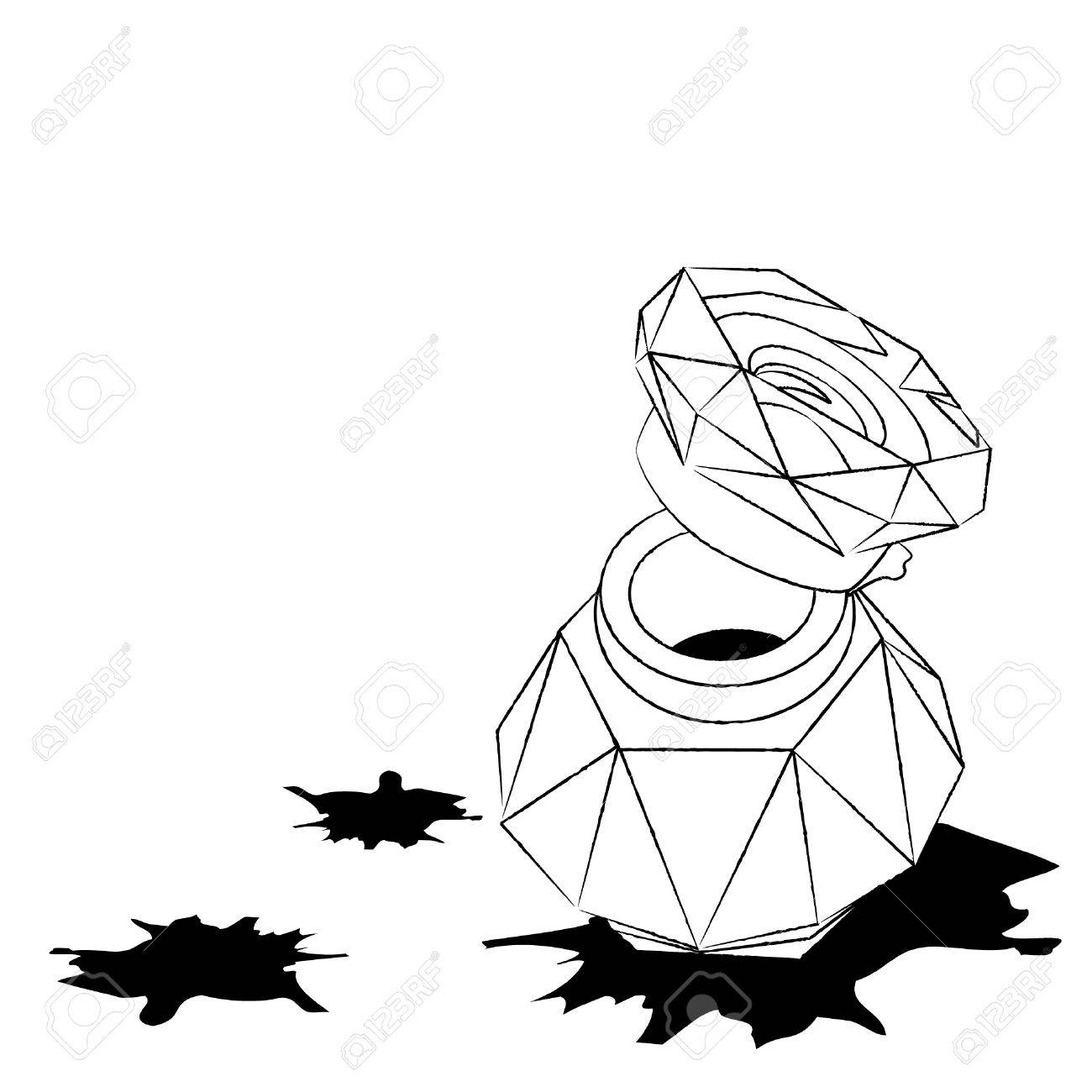 1300x1300 Old Glass Inkwell And Ink Blots In Sketch Style Royalty Free