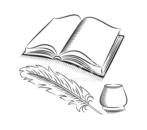 495x440 Sketch Style Quill And Inkwell With Book Stock Vector