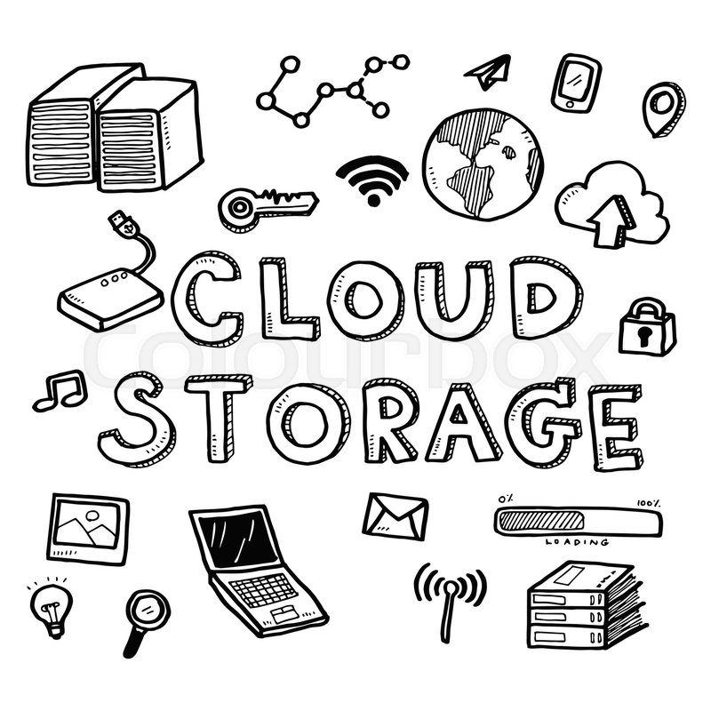 800x800 Hand Draw Business Doodles Cloud Storage Icons And Words Set