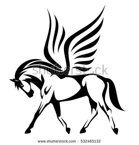 450x468 Innovation Ideas Pegasus Outline Fantasy Mythical Creatures Wall