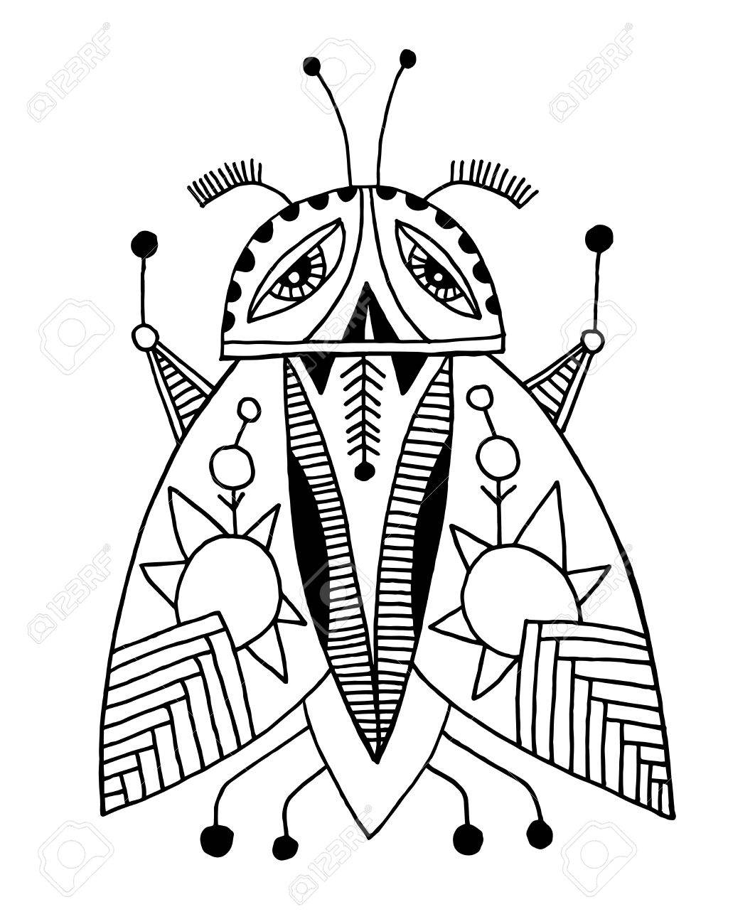 1062x1300 Black And White Handmade Liner Drawing Of Ethnic Beetle In Flat