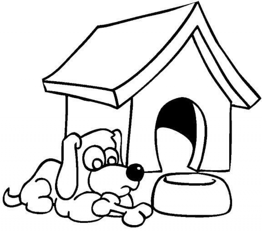 1024x905 Dog House Coloring Pages