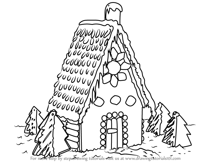 796x616 Gingerbread House Drawing