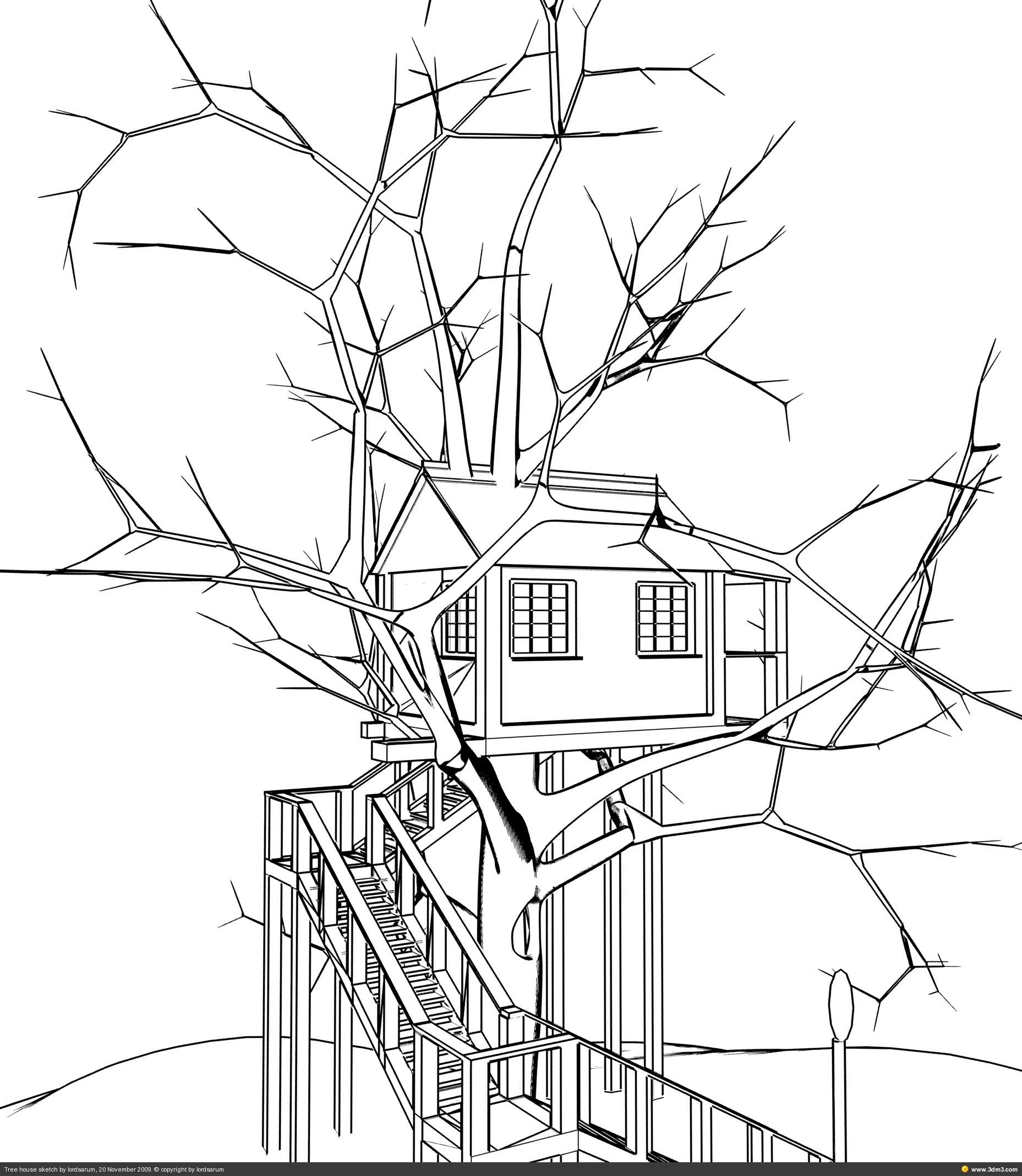 1857x2137 Simple Tree Houses Drawings