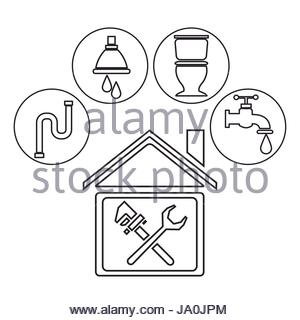 300x320 Sketch Contour House With Wrench Cross Inside And Icons Plumbing
