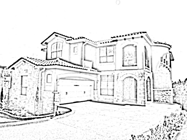 640x480 Easy Modern House Drawing