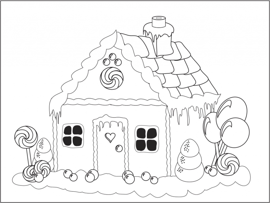 1024x769 Gingerbread House Coloring Page Free Printable Pages And