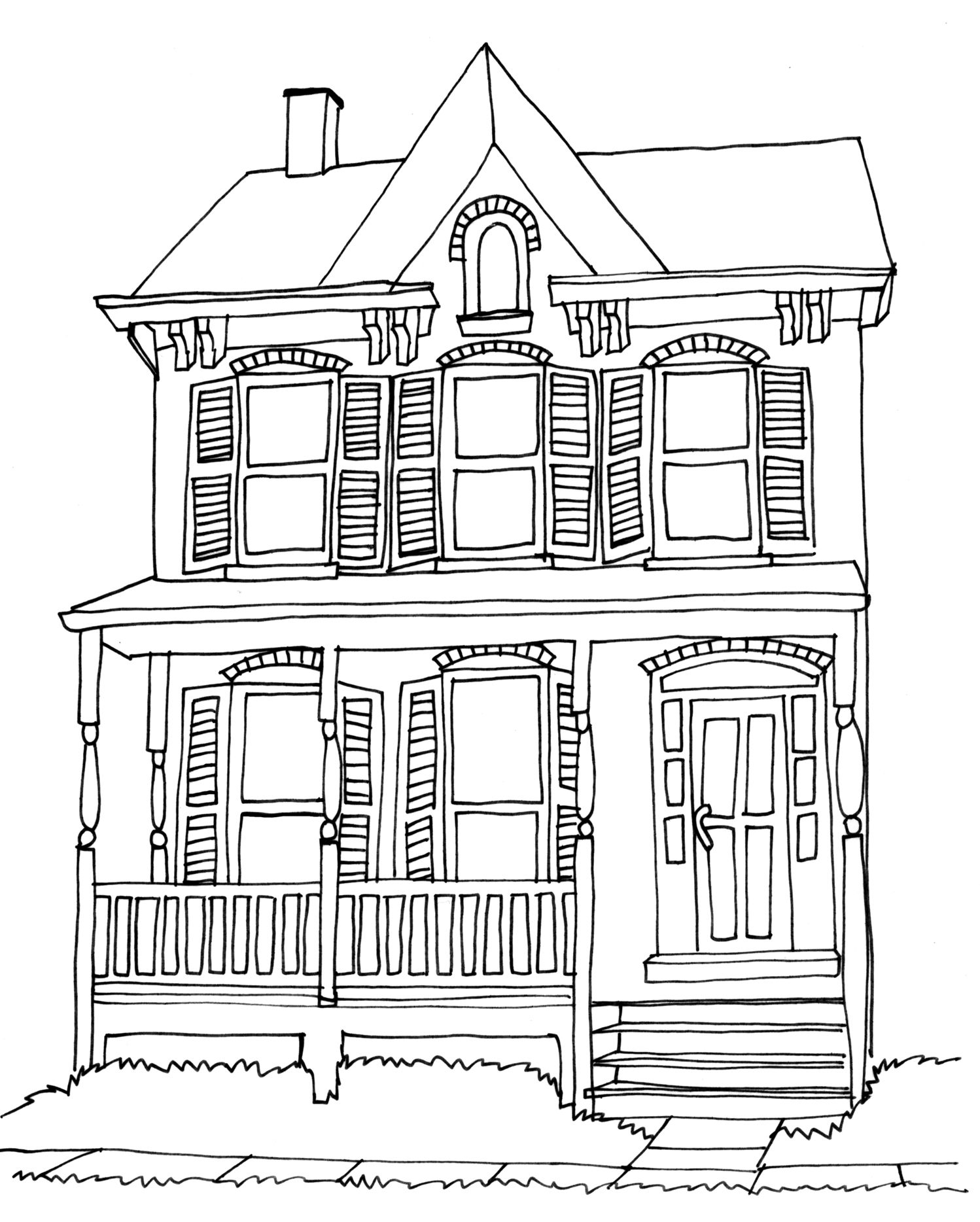 1498x1868 House Drawing Home Mansion