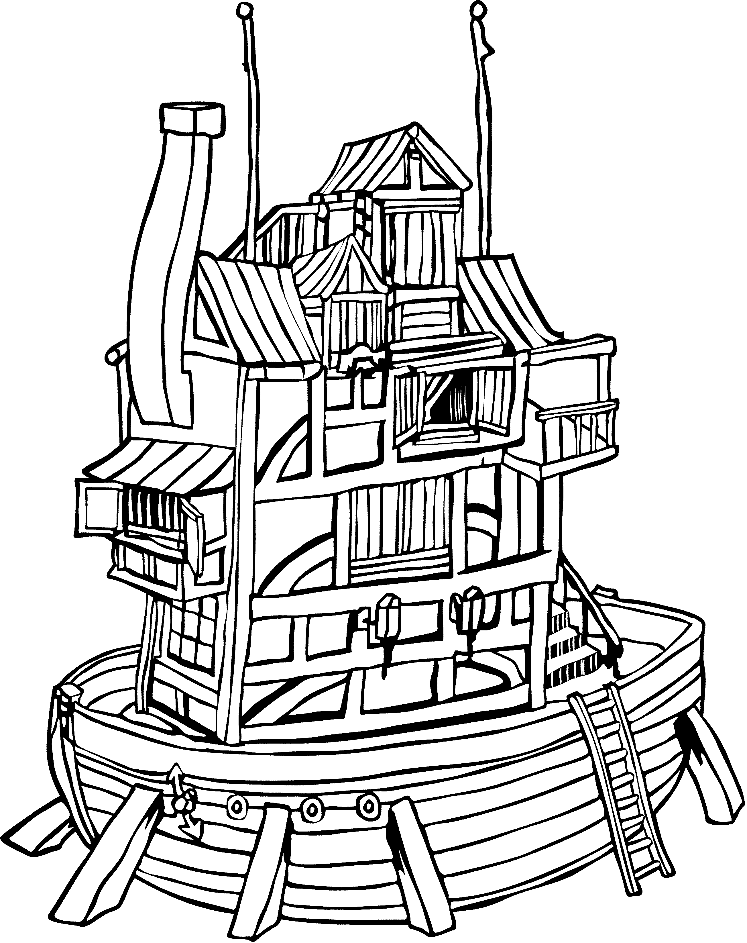 2608x3291 Houseboat Coloring Page Trailer Coloring Pages