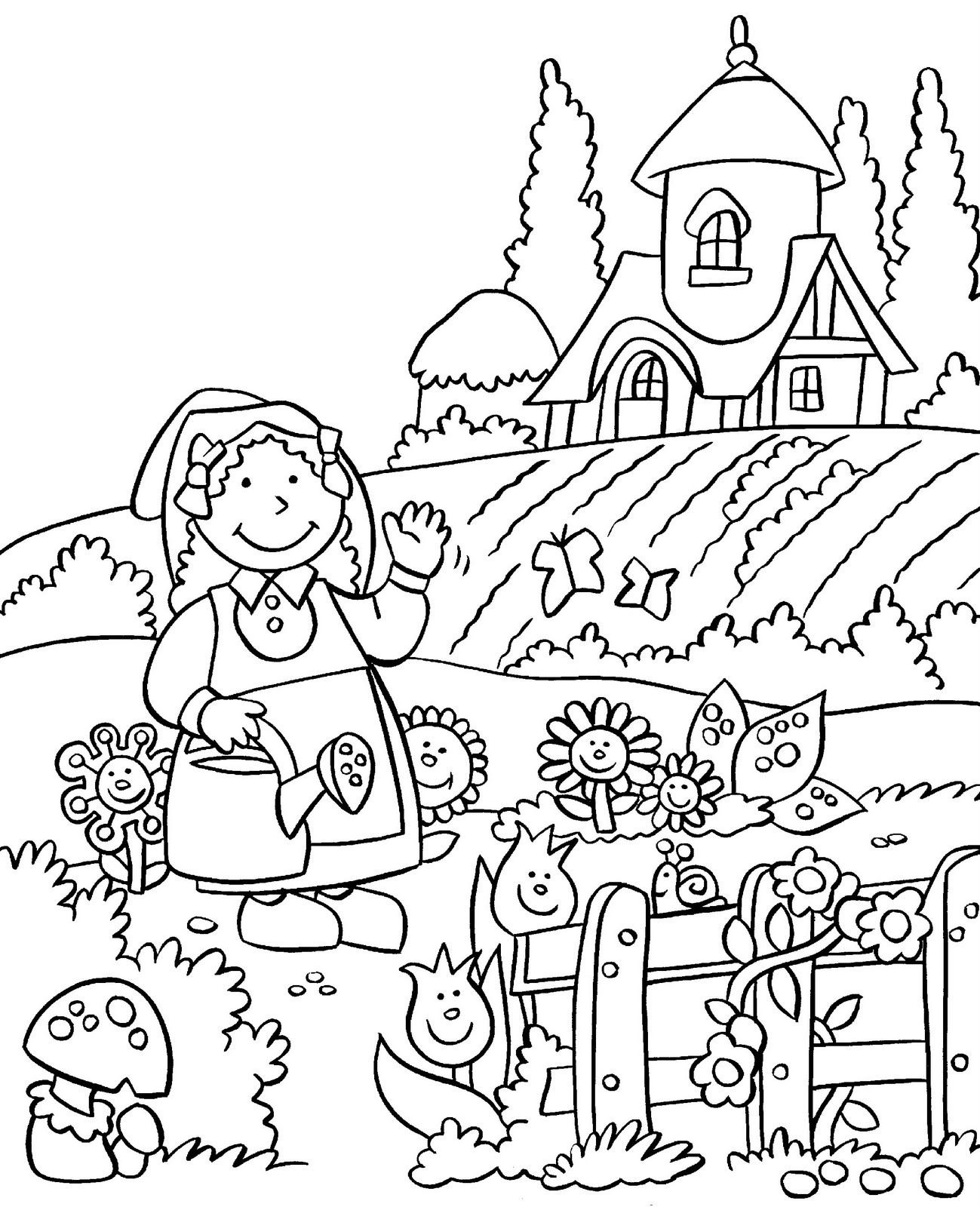 1299x1600 My Little House Anna And The Flower Garden Coloring Pages Inside