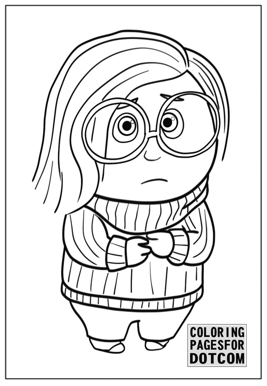 900x1300 Disney Coloring Pages Inside Out 2 Sadness Printable Coloring