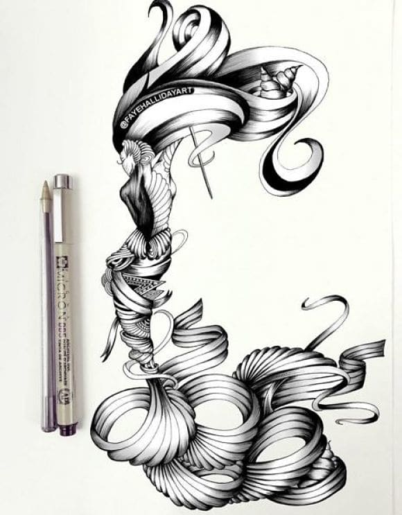 580x743 Artist Creates Tribal Drawings Of Animals