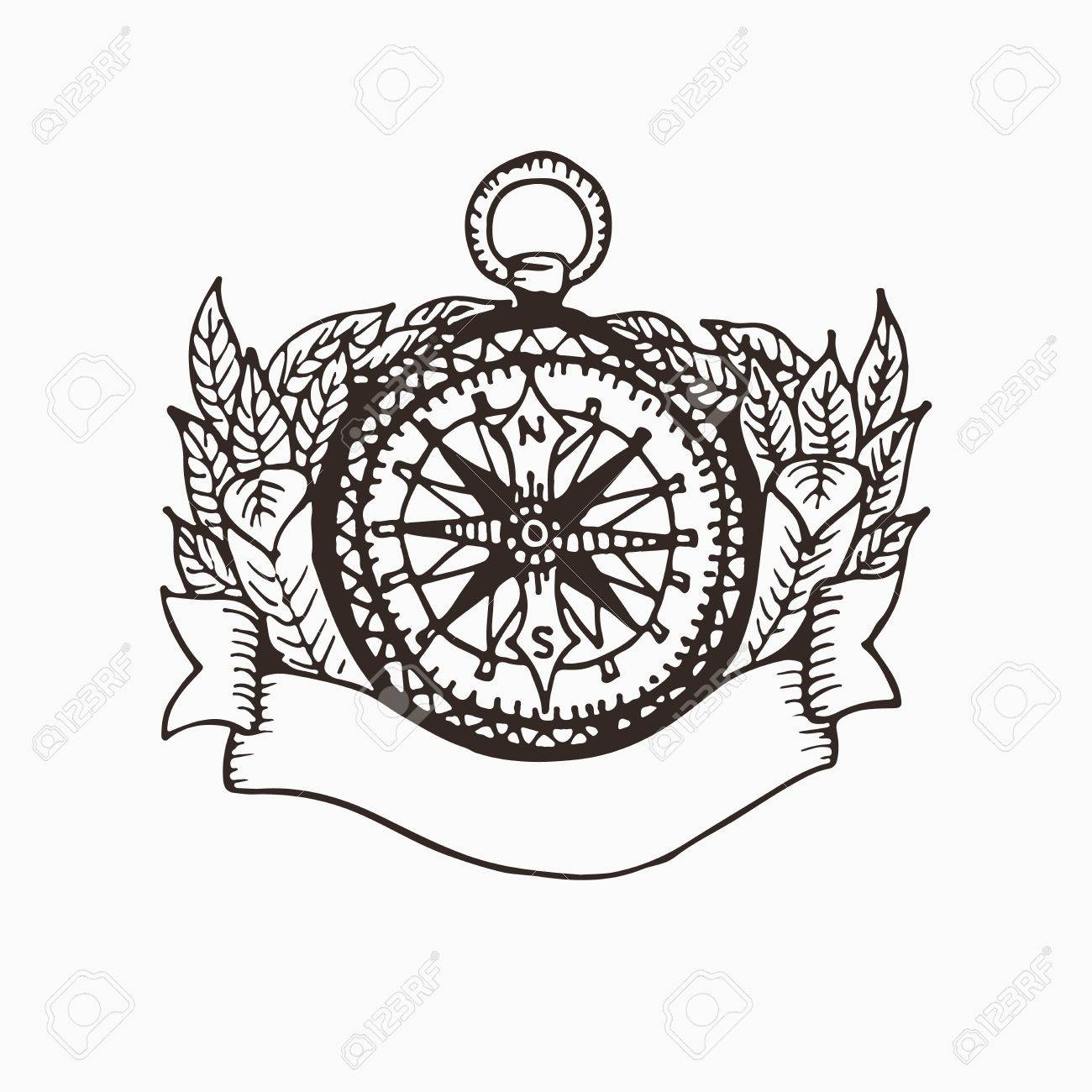 1300x1300 Hand Drawn Compass Illustration With Ribbon For Text And Leaves