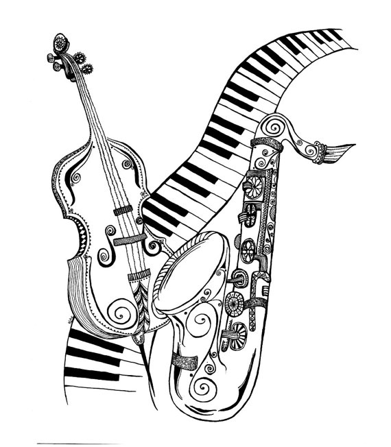 570x652 Music Lover Card Musical Instruments Drawing Keyboard