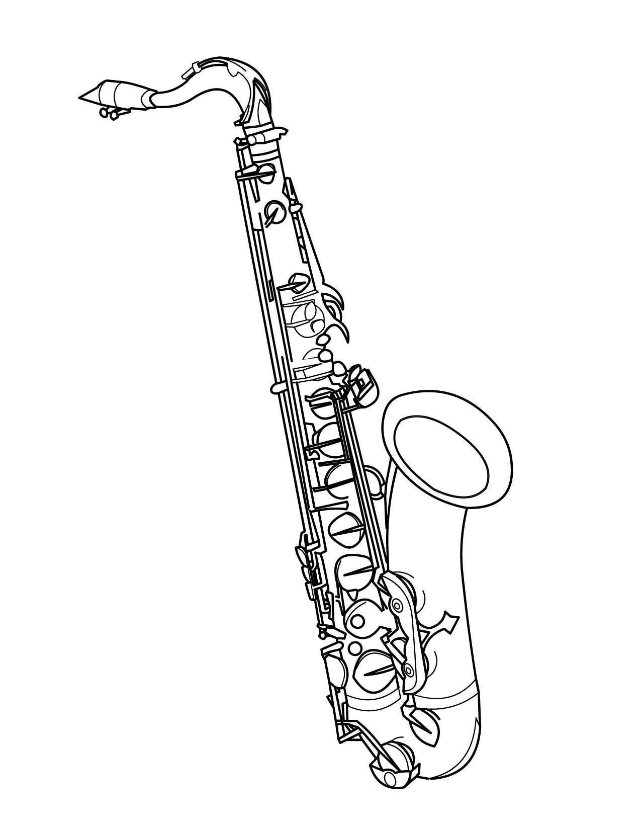 1275x1650 Tenor Saxophone Drawings