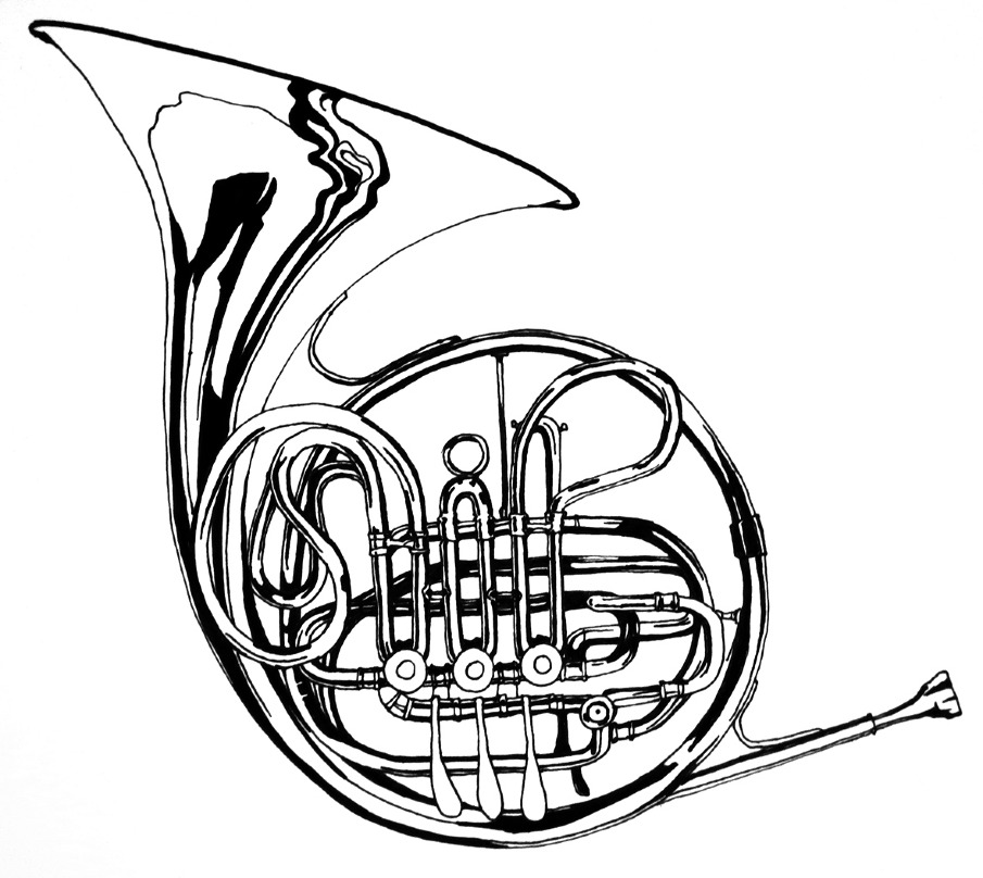 905x808 Draw French Horn Images Music French Horn, Horn