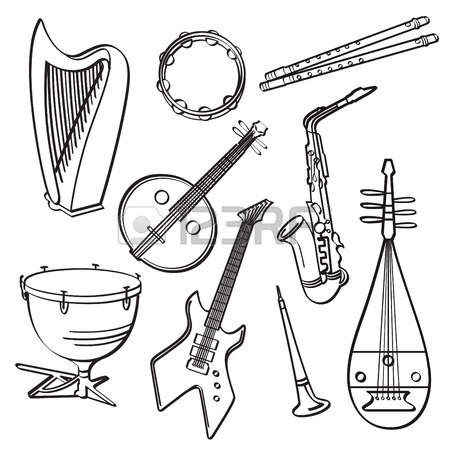 450x450 Folk Musical Instruments Drawing Set Royalty Free Cliparts