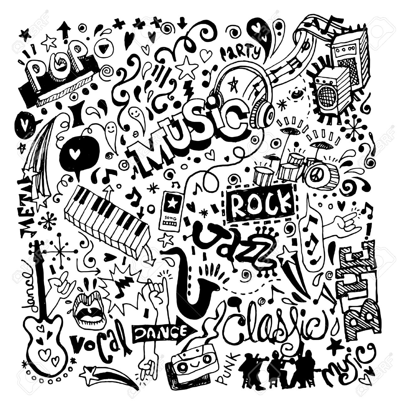 1269x1300 Abstract Music Background ,collage With Musical Instruments.hand