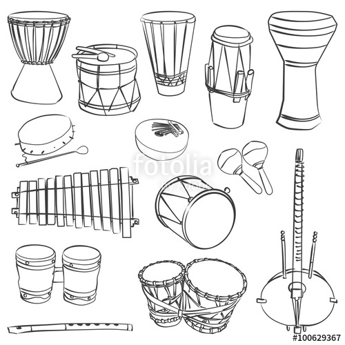 500x500 African Traditional Musical Instruments Stock Image And Royalty