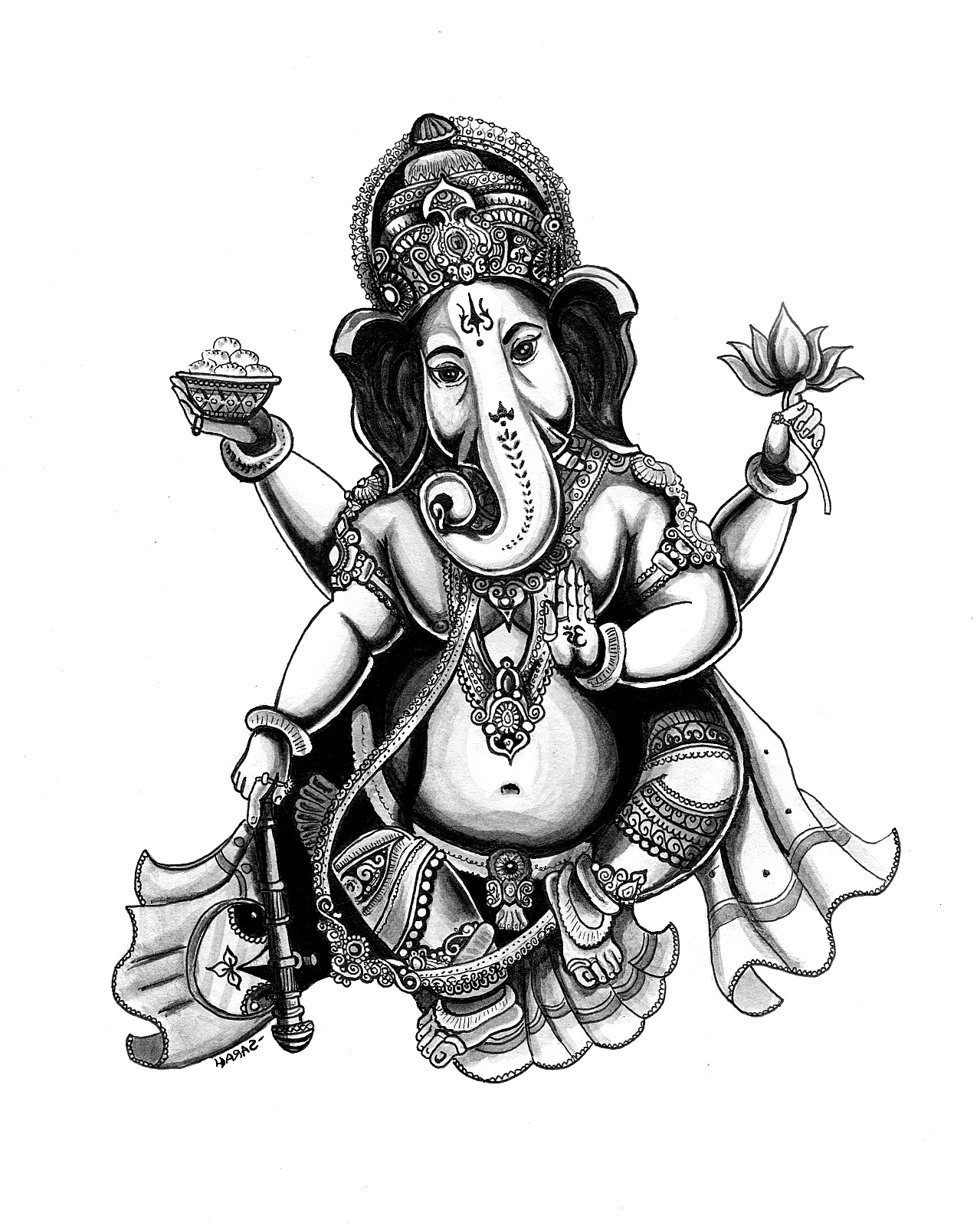 1279x1600 To Print This Free Coloring Page Adult India Ganesha