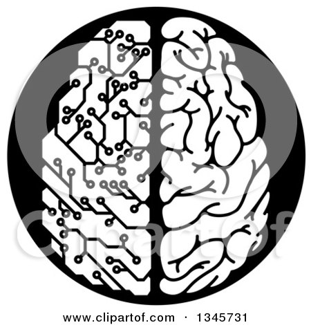 450x470 Clipart Of A Blue Artificial Intelligence Circuit Board Brain